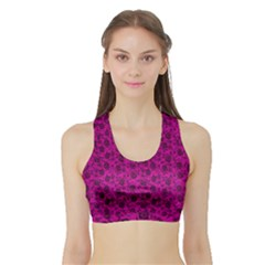 Roses Pattern Sports Bra With Border