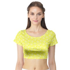 Roses Pattern Short Sleeve Crop Top (tight Fit)