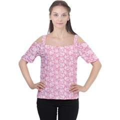 Roses Pattern Women s Cutout Shoulder Tee