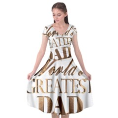 World s Greatest Dad Gold Look Text Elegant Typography Cap Sleeve Wrap Front Dress
