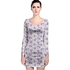 Roses Pattern Long Sleeve Bodycon Dress