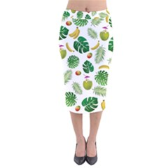 Tropical Pattern Velvet Midi Pencil Skirt by Valentinaart