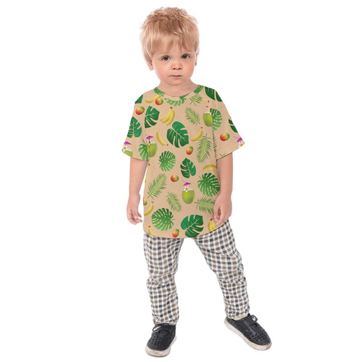 Tropical pattern Kids  Raglan Tee