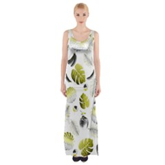 Tropical Pattern Maxi Thigh Split Dress by Valentinaart