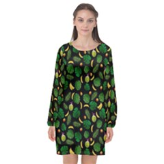 Tropical Pattern Long Sleeve Chiffon Shift Dress