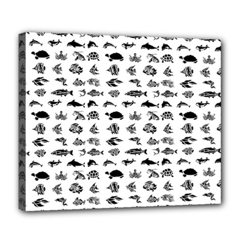 Fish Pattern Deluxe Canvas 24  X 20   by ValentinaDesign