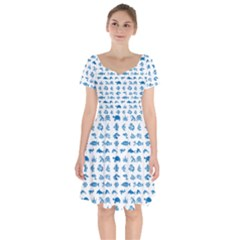 Fish Pattern Short Sleeve Bardot Dress by ValentinaDesign