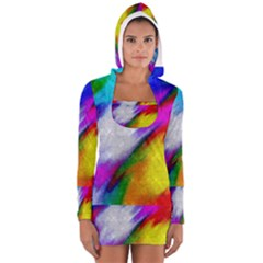 Rainbow Colors              Women s Long Sleeve Hooded T-shirt by LalyLauraFLM