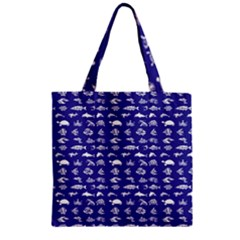 Fish Pattern Zipper Grocery Tote Bag by ValentinaDesign