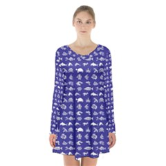 Fish Pattern Long Sleeve Velvet V-neck Dress by ValentinaDesign