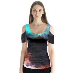 Paint Strokes And Splashes                 Butterfly Sleeve Cutout Tee by LalyLauraFLM
