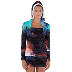 Paint Strokes And Splashes              Women s Long Sleeve Hooded T-shirt by LalyLauraFLM