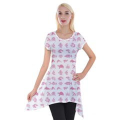 Fish Pattern Short Sleeve Side Drop Tunic