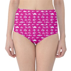 Fish Pattern High Waist Bikini Bottoms