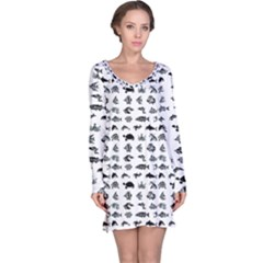 Fish Pattern Long Sleeve Nightdress by ValentinaDesign