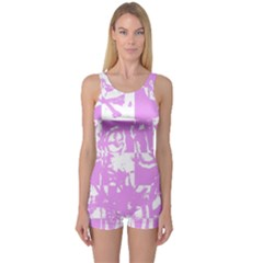 Pink Graffiti Skull One Piece Boyleg Swimsuit by Skulltops