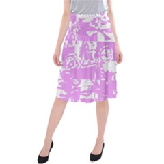 Pink Graffiti Skull Midi Beach Skirt by Skulltops