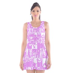 Pink Graffiti Skull Scoop Neck Skater Dress by Skulltops
