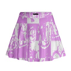 Pink Graffiti Skull Mini Flare Skirt by Skulltops