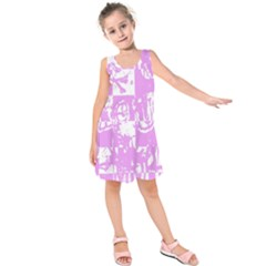 Pink Graffiti Skull Kids  Sleeveless Dress by Skulltops