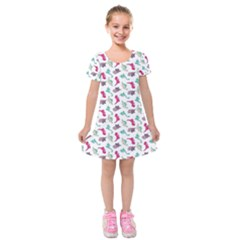 Dinosaurs Pattern Kids  Short Sleeve Velvet Dress