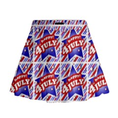 Happy 4th Of July Theme Pattern Mini Flare Skirt by dflcprintsclothing