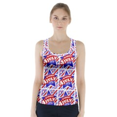 Happy 4th Of July Theme Pattern Racer Back Sports Top by dflcprintsclothing