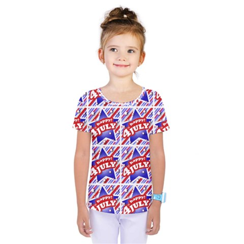 Happy 4th Of July Theme Pattern Kids  One Piece Tee by dflcprintsclothing