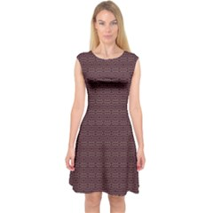 Pattern Capsleeve Midi Dress
