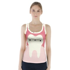 Sad Tooth Pink Racer Back Sports Top