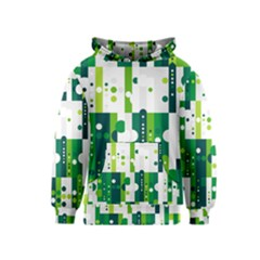 Generative Art Experiment Rectangular Circular Shapes Polka Green Vertical Kids  Pullover Hoodie by Mariart