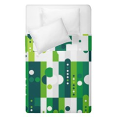 Generative Art Experiment Rectangular Circular Shapes Polka Green Vertical Duvet Cover Double Side (single Size) by Mariart