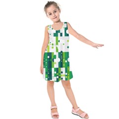 Generative Art Experiment Rectangular Circular Shapes Polka Green Vertical Kids  Sleeveless Dress by Mariart