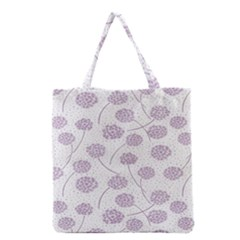 Purple Tulip Flower Floral Polkadot Polka Spot Grocery Tote Bag by Mariart