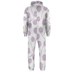 Purple Tulip Flower Floral Polkadot Polka Spot Hooded Jumpsuit (men)  by Mariart