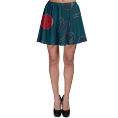 Zodiac Signs Planets Blue Red Space Skater Skirt