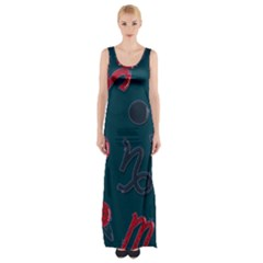 Zodiac Signs Planets Blue Red Space Maxi Thigh Split Dress