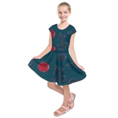 Zodiac Signs Planets Blue Red Space Kids  Short Sleeve Dress by Mariart