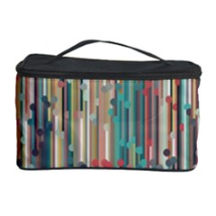 Vertical Behance Line Polka Dot Grey Blue Brown Cosmetic Storage Case