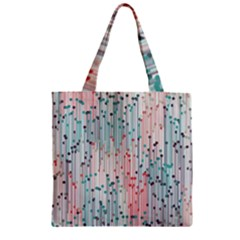 Vertical Behance Line Polka Dot Grey Pink Zipper Grocery Tote Bag by Mariart