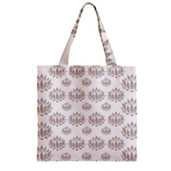 Dot Lotus Flower Flower Floral Zipper Grocery Tote Bag by Mariart