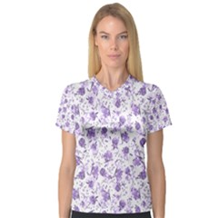 Floral Pattern Women s V Neck Sport Mesh Tee by ValentinaDesign