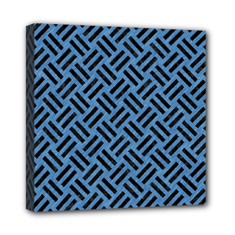 Woven2 Black Marble & Blue Colored Pencil (r) Mini Canvas 8  X 8  (stretched) by trendistuff