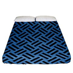 Woven2 Black Marble & Blue Colored Pencil (r) Fitted Sheet (queen Size) by trendistuff