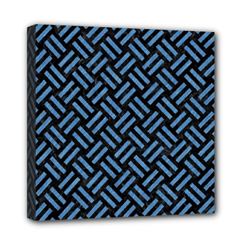 Woven2 Black Marble & Blue Colored Pencil Mini Canvas 8  X 8  (stretched) by trendistuff