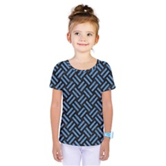 Woven2 Black Marble & Blue Colored Pencil Kids  One Piece Tee by trendistuff