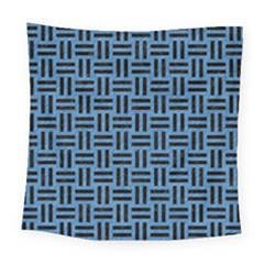Woven1 Black Marble & Blue Colored Pencil (r) Square Tapestry (large) by trendistuff