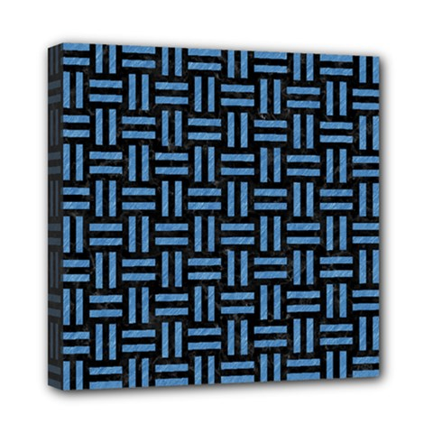 Woven1 Black Marble & Blue Colored Pencil Mini Canvas 8  X 8  (stretched)