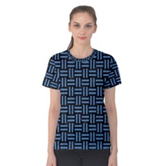 Woven1 Black Marble & Blue Colored Pencil Women s Cotton Tee by trendistuff