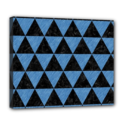 Triangle3 Black Marble & Blue Colored Pencil Deluxe Canvas 24  X 20  (stretched) by trendistuff